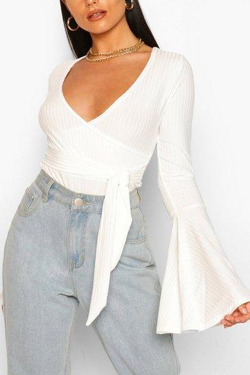 Ivory white White Flare Sleeve Ribbed Wrap Bodysuit
