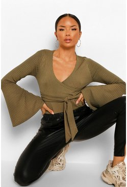 Khaki Flare Sleeve Ribbed Wrap Bodysuit