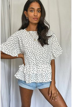 White Woven Polka Dot Smock Top