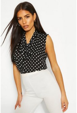 Black Woven Polka Dot Pussybow Sleeveless Bodysuit