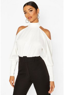 Ivory white Crepe Cold Shoulder Top