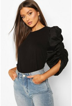 Black Cotton Puff Sleeve T-Shirt