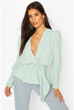Sage green Puff Sleeve Wrap Blouse