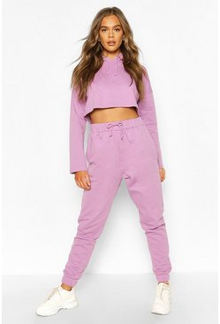 Lilac purple Crop Hooded Tracksuit Set