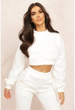 Ecru white Mix & Match High Neck Deep Waist Crop Sweater