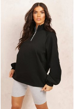 Black Mix And Match Half Zip Sweatshirt
