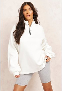 Ecru Mix And Match Half Zip Sweatshirter