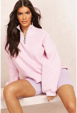 Rose pink Mix and Match Half Zip Sweater