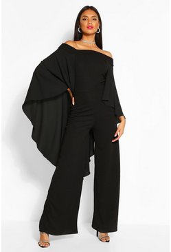 Black Off The Shoulder Wide Leg Extreme Cape Jumpsuit