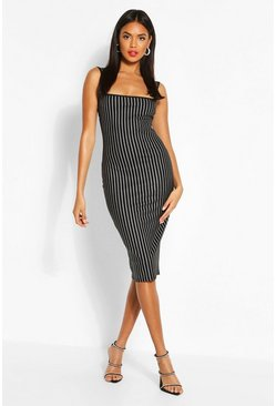 Black Metallic Pinstripe Square Neck Midi Dress