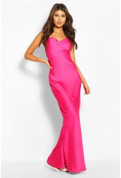 Fuchsia pink Cowl Neck Maxi Slip Dress