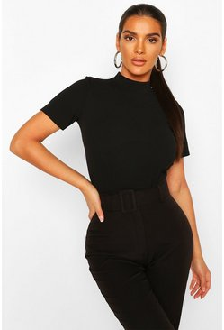 Black High Neck Corset Detail Bodysuit