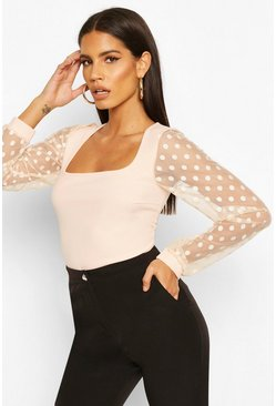 Blush Polka Dot Mesh Sleeve Square Neck Bodysuit