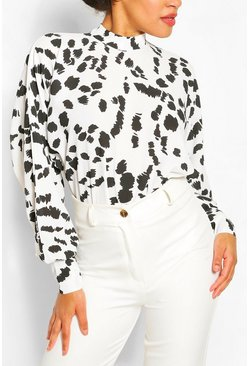 White Splodge Print High Neck Bodysuit