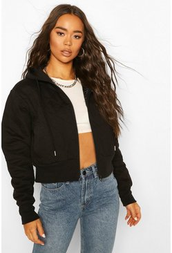 Black Quilted Hooded Bomber Jacket