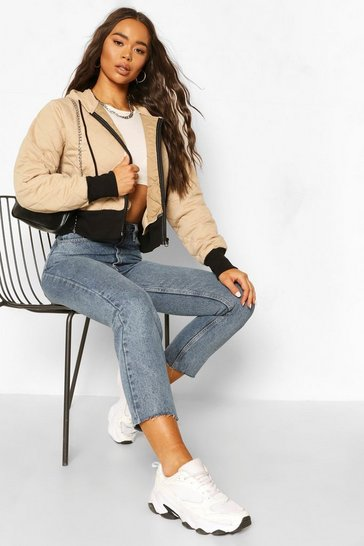 Stone Quilted Hooded Bomber Jacket