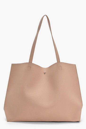 Natural beige Large Popper Tote Shopper Bag