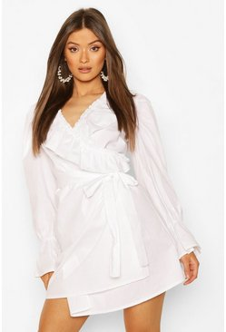 White Cotton Ruffle Detail Wrap Dress