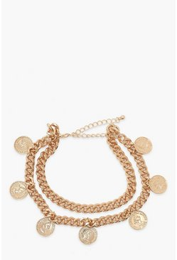 Gold Coin & Chain Anklet 2 Pack