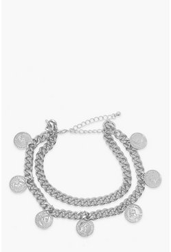 Silver Coin & Chain Anklet 2 Pack