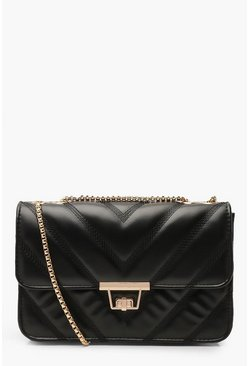 Black PU Cross Body Bag