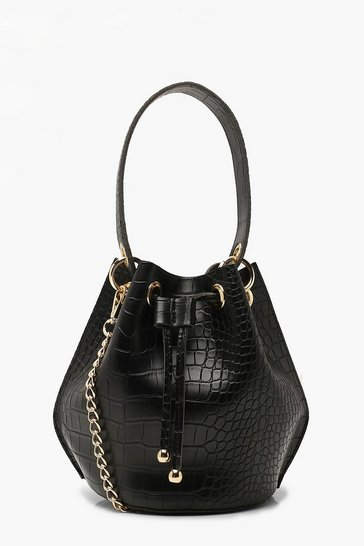 Black Handle Detail Croc Cross Body Bag