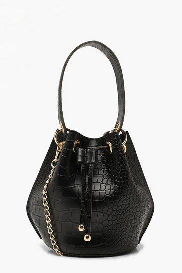 Black Handle Detail Croc Cross Body Bag