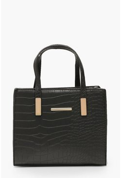 Black Croc Mini Tote Day Bag