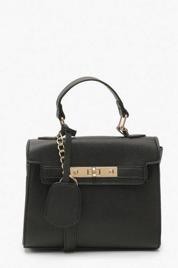 Black Structured Mini Lock Crossbody Bag