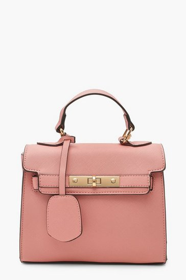 Pink Structured Mini Lock Crossbody Bag