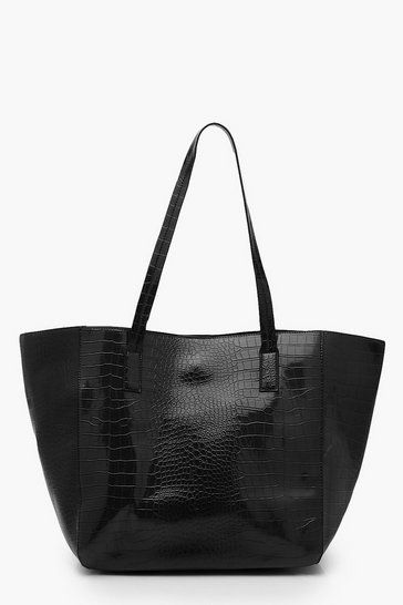 Black Oversized Faux Leather Croc Tote Day Bag