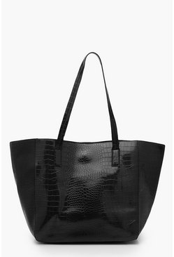 Black Oversized Croc Day Bag