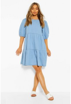 Light blue Denim Tierred Smock Dress
