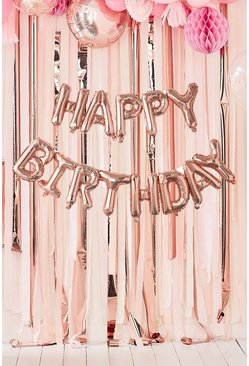 Rose gold metallic Ginger Ray Happy Birthday Balloon Bunting
