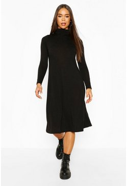 Black Soft Knit Midi Skater Dress