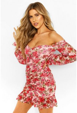 Pink Mesh Floral Off The Shoulder Ruched Mini Dress