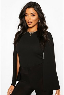 Black Cape Sleeve Detail Top