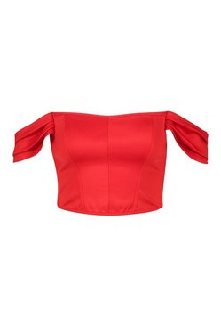 Red Off The Shoulder Corset Style Top