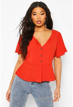 Rust orange Button V Neck Peplum Top