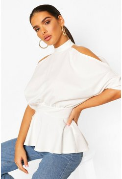 Ivory white Crepe Cold Shoulder Peplum Top