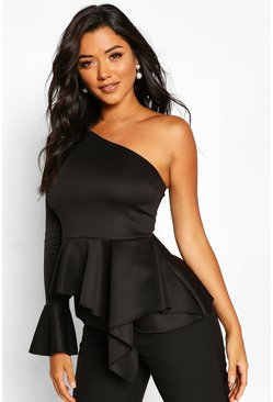 Black One Shoulder Flute Sleeve Peplum Top