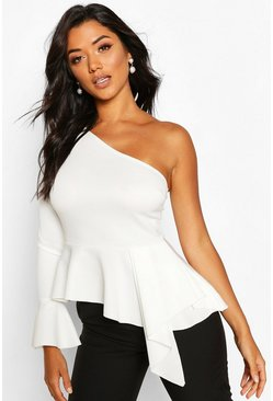 Ivory white One Shoulder Flute Sleeve Peplum Top