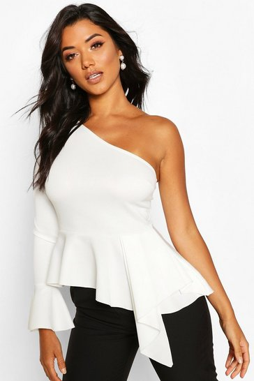 Ivory white White One Shoulder Flute Sleeve Peplum Top