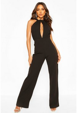 Black High Neck Ruched Front Wide Leg Jumpsuit