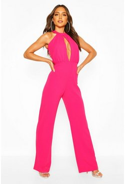 Cerise pink High Neck Ruched Front Wide Leg Jumpsuit