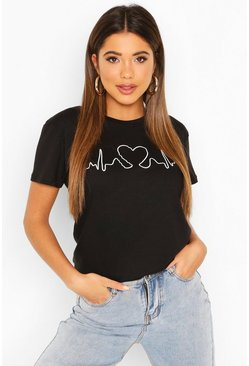 Black Heartbeat Printed T-Shirt