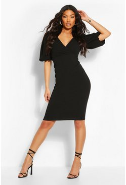Black Puffball Wrap Front Midi Dress