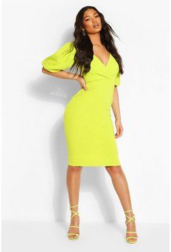 Lime Puffball Wrap Front Midi Dress
