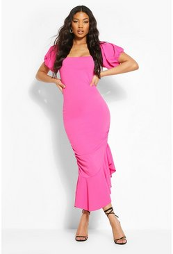 Hot pink pink Off The Shoulder Puff Sleeve Midi Dress