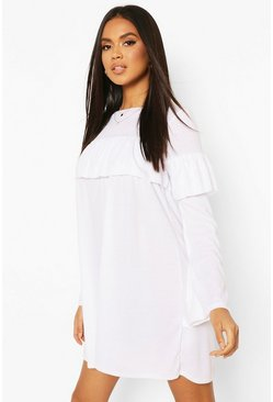 White Rib Large Ruffle Smock Dress